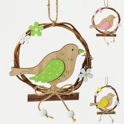 Záves vtáčik na pníku, drevený, 10 cm