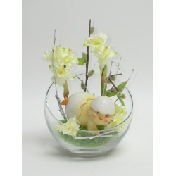 Aranžmán sklo, jarná váza, kuriatko, narcis, 16 x 25 cm