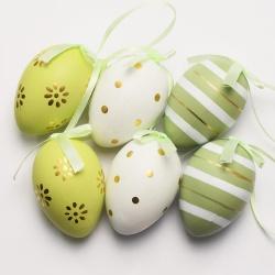 Veľkonočné vajíčka, plast, 6 cm, 6 ks