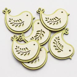Záves vtáčik s folklórnym motívom, drevený, lepený, 6 ks