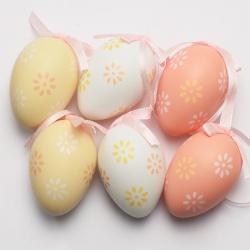 Vajíčka, 6 cm, plast, ružové, 6 ks