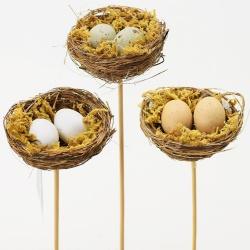 Zápich hniezdo s vajíčkami, mix, 6 x 25 cm, 1 ks