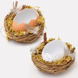 Zápich hniezdo s vaječnou škrupinou, mix, 8 cm, 1 ks