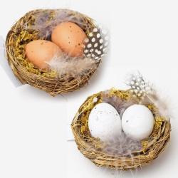 Zápich hniezdo s vajíčkami, mix, 8 cm, 1 ks