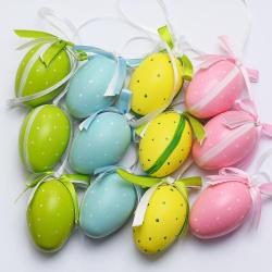 Veľkonočné vajíčka, mix farieb, 3,5 x 5 cm, 12 ks