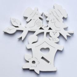 Drevený výrez, búdka s vtáčikmi, biela, 15 cm, 6 ks