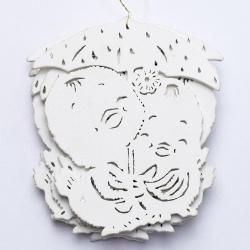 Výrez kačičky pod dáždnikom, biele, 10 cm, 8 ks
