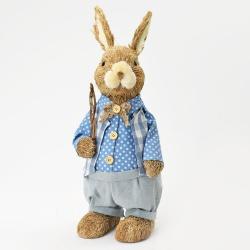 Slamený zajac s korbáčom, modrý, 18 x 17 x 45 cm