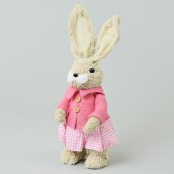 Slamená zajačica v sukni, ružová, 13 x 12 x 33 cm