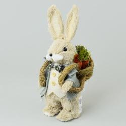Slamený zajac s košíkom a mrkvou, 20 x 13 x 37 cm