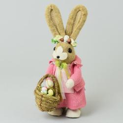 Slamená zajačica s košíkom, ružová, 17 x 15 x 36 cm