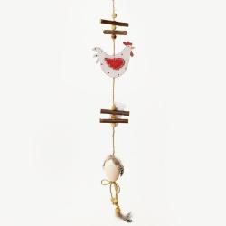 Záves sliepka, bielo červený, 60 x 8,5 x 1 cm