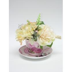 Ružová šálka (pivonka + hortenzia), mix farieb, 20 x 16 cm