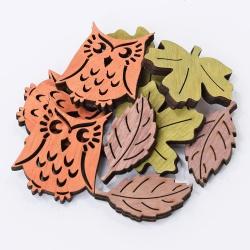 Sova a listy, drevené ozdoby s lepkou, 4 cm, 9 ks