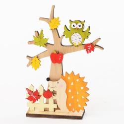 Strom drevený, ježko a sova, 19 x 13 x 13,5 cm