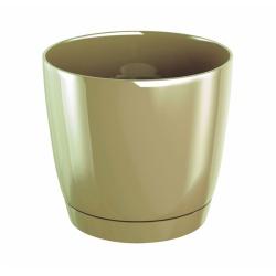 Kvetináč Duop s podmiskou, latte, 10 cm