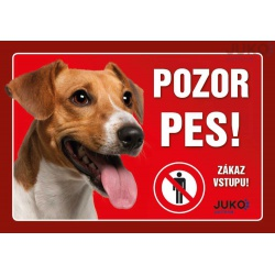 Cedulka Pozor pes! - Jack Russel, 21 x 14 cm