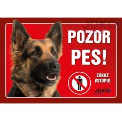 Cedulka Pozor pes! - Nemecký ovčiak, 21 x 14 cm
