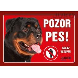 Cedulka Pozor pes! - Rotvajler, 21 x 14 cm