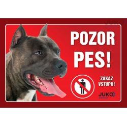 Cedulka Pozor pes! - Staford, 21 x 14 cm