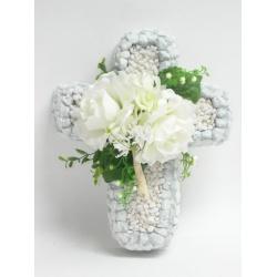 Aranžmá 4166, kríž + ruža, hortenzia, 30 cm