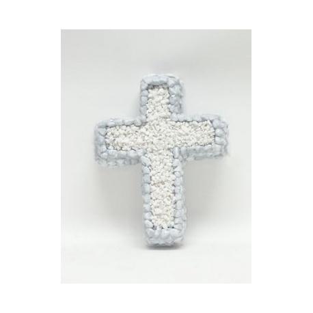Aranžmán kríž s kamienkami, nezdobený, 23 x 29 cm