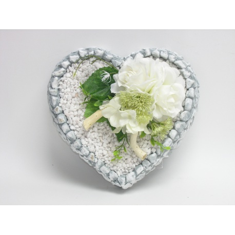 Aranžmán 4173, srdce s kamienkami, 26 x 10 cm