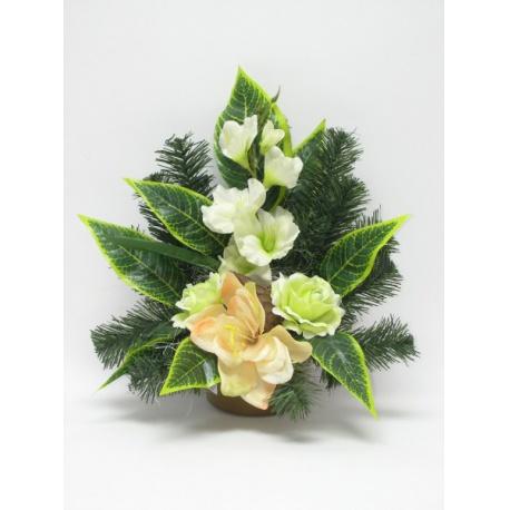 Aranžmán 4153, gladiola, ruža, doplnky, 38 cm