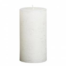 Sviečka Rustic, metalická biela, 13 x 6,8 cm
