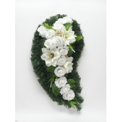 Aranžmán veniec, točená slza, magnolia a doplnky, 86 cm