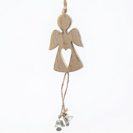 Záves anjel, malý, drevo, 16 x 5,5 x 1 cm