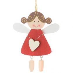 Záves anjelik v červených šatách, drevo, 16 x 10,5 x 0,8 cm