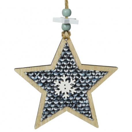 Záves hviezda, drevo, 11 cm