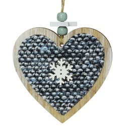 Záves srdce, drevo, 10 cm