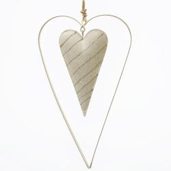 Záves srdce, bielo zlaté, kovové, 19 x 10,5 x 1 cm