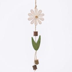 Záves drevo, kvet, biely, 22 x 7,5 x 1,4 cm