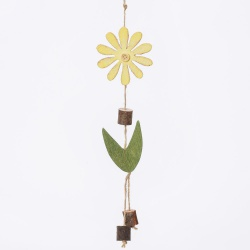 Záves drevo, kvet, žltý, 22 x 7,5 x 1,4 cm