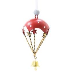 Záves padák+zvonček, červený, 22 x 11 x 1,5 cm