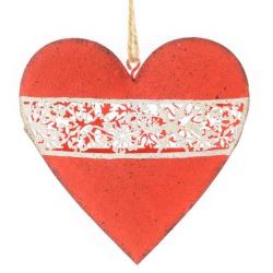 Záves srdce, kovové, červené, s výrezom, 10,5 x 10,5 x 1,8 cm