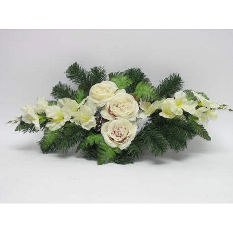 Aranžmán 4146, ruža, gladiola, doplnky, 70 cm