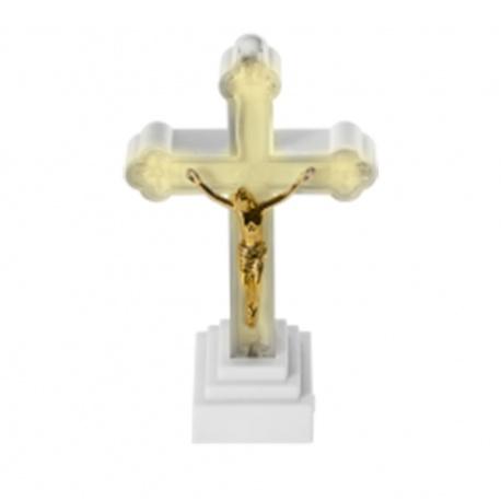 Náhrobný kahanec kríž, K-LED, mix farieb, 12,5 x 7 cm