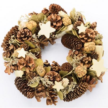 Veniec vianočný, prírodný, zdobený, 30 cm