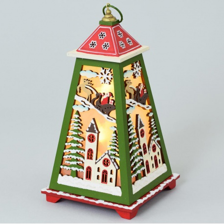 Lampáš drevený, Santa, 14 x 14 x 27,5 cm