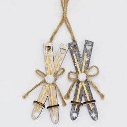 Záves lyže, šedé, naturálne, 19 cm, 1 ks