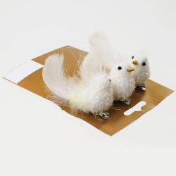 Štipec vtáčik, biely, 10 cm, 3 ks