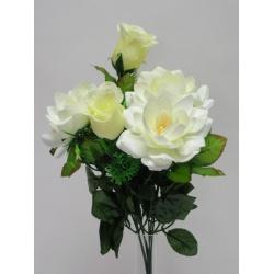 Kytica lekno+ruža puk, x7, 43 cm
