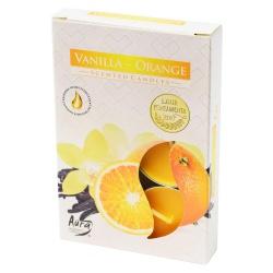 Čajové sviečky, vanilka a pomaranč, 6 ks