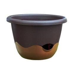 Závesný kvetináč, zavlažovací, MARETA, hnedá, bronzová, 30 cm