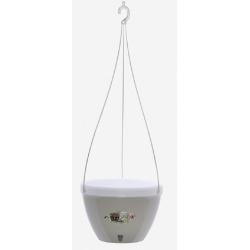 Závesný kvetináč, Vista, samozavlažovací, šedá / biela, 22 cm