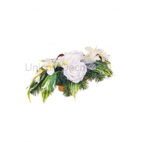 Aranžmán 4131, gladiola + ruža + doplnky, 70 cm